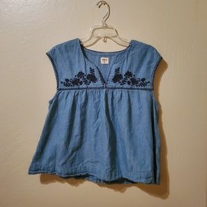 Gap 1969 Embroidered Chambray Babydoll Top L